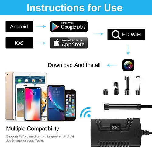 1080p Endoscope Camera Industrial Car Endoscope WiFi Borescope Waterproof Inspection Endoscope for Smartphone Tablet PC Notebook