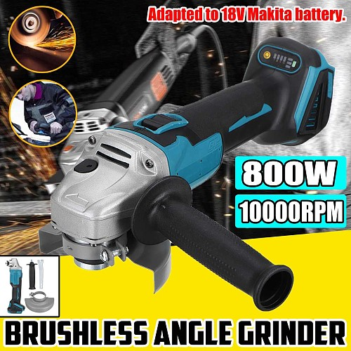 125/100mm 4 Speed Brushless Electric Angle Grinder Grinding Machine Cordless DIY Woodworking Power Tool For 18V Makita Battery