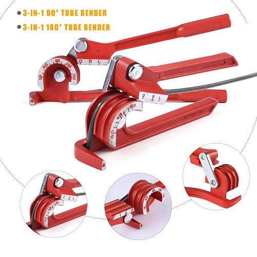 90/180 degree Pipe Bending Tool Heavy Duty Tube Bender Aluminum Alloy Tubing Bender Brake Fuel Line Curving Pliers 90/180 Degree
