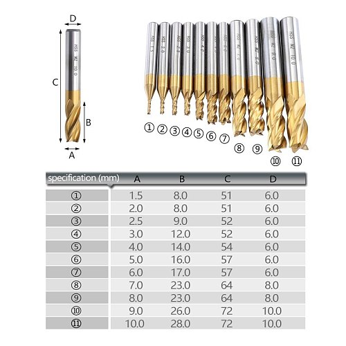 7pcs/11pcs Milling Cutters 4-Flute Titanium HSS End Mill Set 1.5-10mm CNC Router Bit for Wood Steel Milling