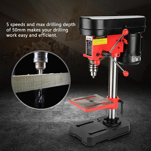 Mini Bench Drill Press Stand Workbench Mounted 350W 5 Speed 50mm drilling depth 220V Bench Drill Electric Nail Drill Machine