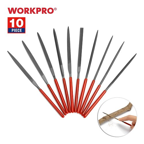 WORKPRO 10PC Needle File Set Mini File For Metal Glass Stone Jewelry Wood Carving Craft Tool 140mm