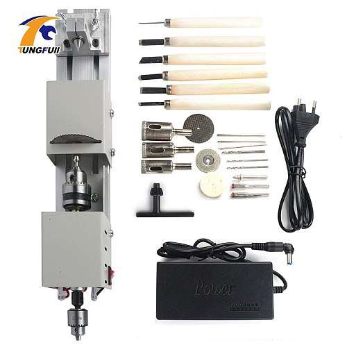 Mini Lathe Beads Machine DIY Woodworking With Power Carving Cutter Polishing Beads Wood Drill Rotary Tool 12-24VDC
