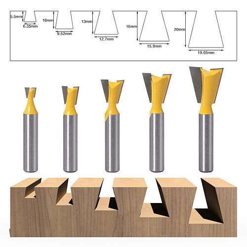 5pcs 8mm Shank Dovetail Joint Router Bits Set 14 Degree Woodworking Engraving Bit Milling Cutter for Wood