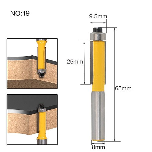1pcs 8mm Shank wood router bit Straight end mill trimmer cleaning flush trim corner round cove box bits tools Milling Cutte RCT