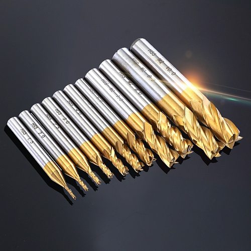 7pcs/11pcs Milling Cutters 4-Flute Titanium HSS End Mill Set 1.5-10mm CNC Router Bit for Wood Steel Milling