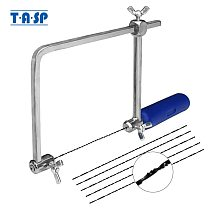 TASP 4  Adjustable Frame Sawbow U-shape Coping Jig Saw for Woodworking Craft Jewelry DIY Hand Tools with 6pcs Spiral Blades