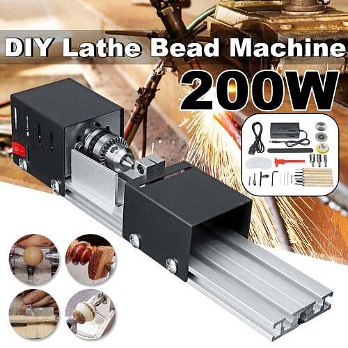 200W CNC Mini Lathe Machine Tool torno DIY Woodworking Wood lathe Milling machine Grinding Polishing Beads Drill Rotary Tool Set