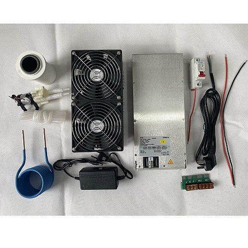 2500W ZVS Induction Heater Induction Heating PCB Board Heating Machine Melted Metal + Coil Mayitr+ Crucible+Pump+Power Supply