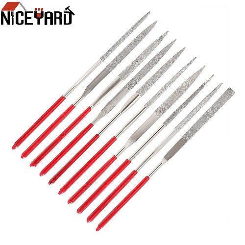 NICEYARD 140mm 10PCS Diamond Mini Needle File Set Hand Tools for Ceramic Glass Gem Stone Hobbies and Crafts