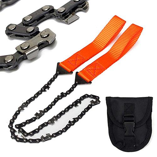 65cm Emergency Survival hand chain saw Household Gardening Outdoor Hand Chainsaw with Nylon Bag Camping Hiking Pocket Chain Saw