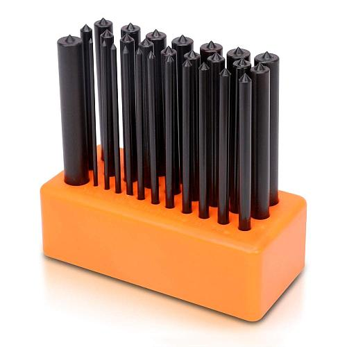 SEDY 28-Piece Transfer Punch Set, 3/32  - 1/2 , Heat Treated Alloy Steel Forging