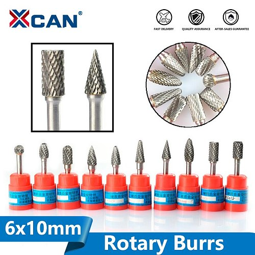 XCAN 1pc 6mm Shank Carbide Double Cut Rotary Burrs 10 Diameter Rotary File Power Tools Accessories Rotary Tools