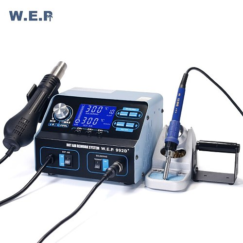 WEP 992D+ Soldering Iron Hot Air Soldering Station Phone IC PCB Repair Desoldering Station BGA Rework Station Soldering Tool