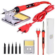 220V 80W LCD Electric Soldering iron 908S Adjustable Temperature Solder iron With quality soldering Iron Tips and kits