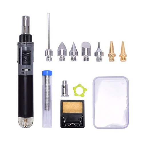 12 in 1 Cordless Butane Gas Soldering Iron Kit Welding Gun Set Auto Ignition Torch Pen For Electric Welding Auxiliary Tool