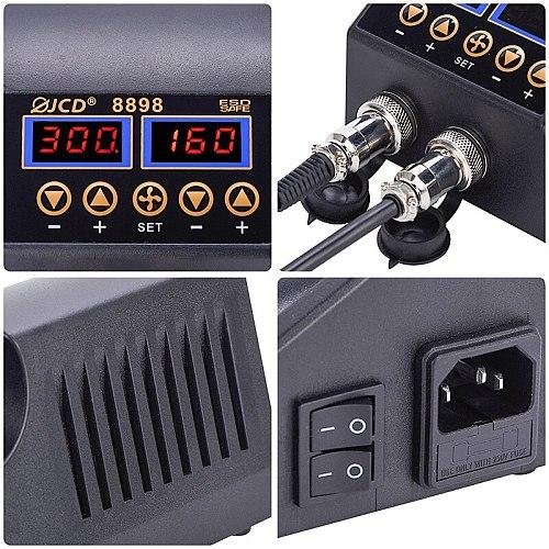 JCD 2 In 1 Hot Air Gun With Soldering Iron Rework Station 750W BGA SMD PCB IC LCD Digital Display Welding Repair Solder Tools