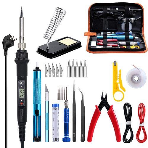 GEYOTAR 220V 80W LCD Thermoregulator Electric Soldering Iron Kit EU Plug Portable Welding Repair Tool