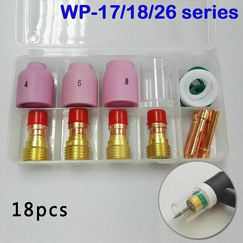 18* TIG Stubby Gas Lens Ceramic Nozzle+Heat Cup WP17/18/26 2.4mm Tools Supplies