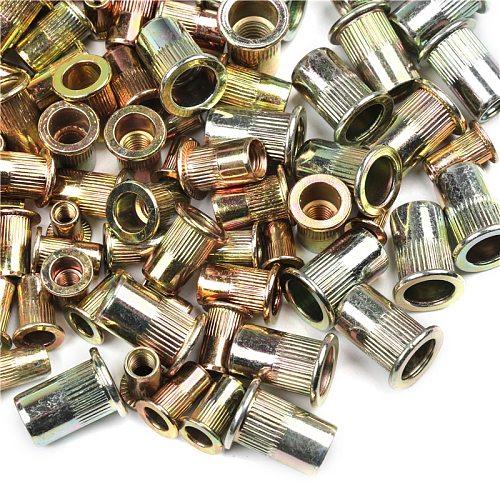 100pcs M6 M8 Mixed Zinc Plated Carbon Steel Rivet Nut Threaded Rivnut Insert M4 M5 M6 M8