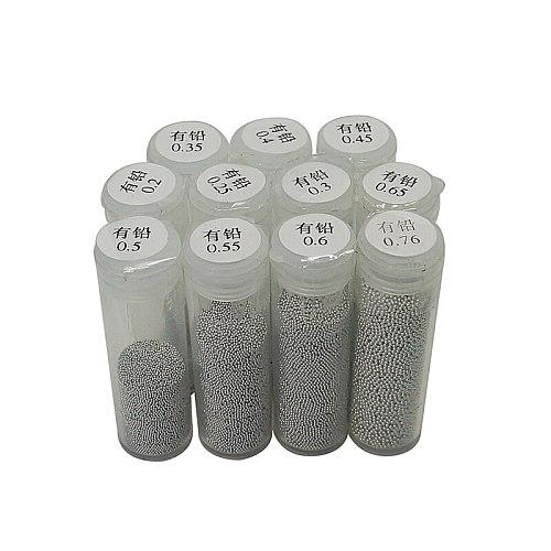 1PC 25K Tin Leaded BGA Reballing Balls 0.2 0.25 0.3 0.35 0.4 0.45 0.5 0.55 0.6 0.65 0.76mm for BGA reballing Stencils reapir kit