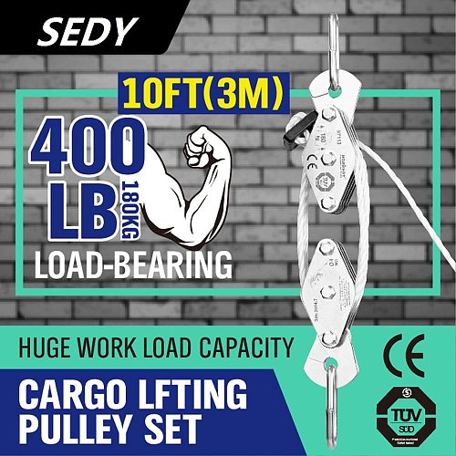 SEDY 180kg Winch Stainless Steel Cargo Lifting Pulley Set Labor Saving Winch Double 4 Groove Pulley Labor-saving Lifting Tool