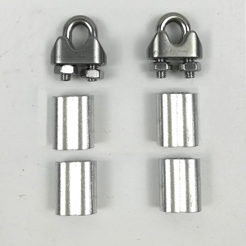 2pcs U type clamps with screws+4pcs aluminum ferrule for 2mm 2.5mm 3mm 3.5mm 4mm Steel hard Flexible Wire Rope Cable