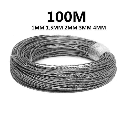 100M 50M304 Stainless Steel 1mm 1.5mm 2mm Diameter Steel Wire bare Rope lifting Cable line Clothesline Rustproof 7X7