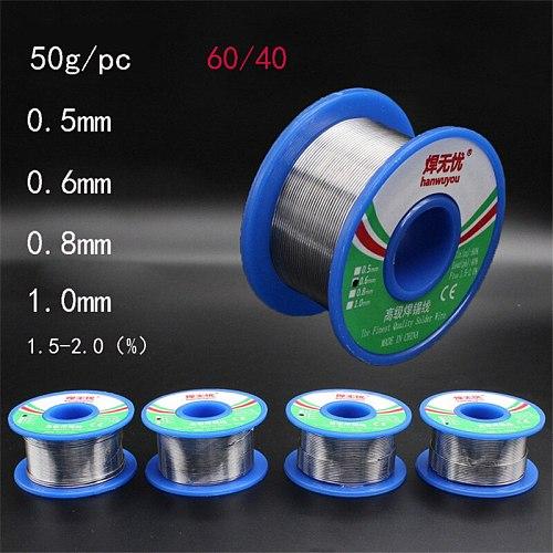 60/40 Rosin Core Tin Lead Solder Wire Soldering Welding Flux 1.5-2.0% Iron Wire Reel 50g1.0mm