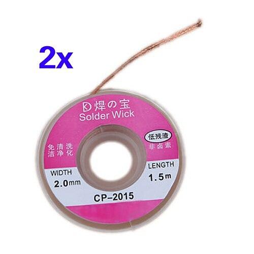 CNIM Hot 2Pcs 75cm Solder Wick Remover Desoldering Braid Wire Sucker Cable Fluxed Flux