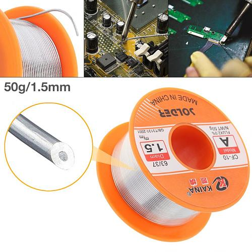 63/37 50g 0.5-1.5mm No-clean Rosin Core Solder Tin Wire Reel with 2% Flux and Low Melting Point for Electric Soldering Iron