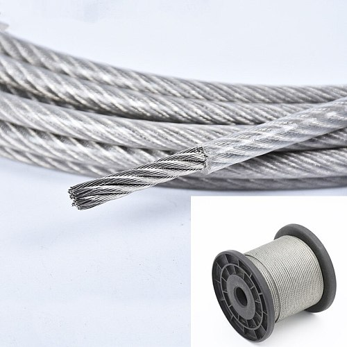 10 Meter Steel PVC Coated Flexible Wire Rope soft Cable Transparent Stainless Steel Clothesline Diameter 1mm 1.2mm 1.5mm 2mm 3mm