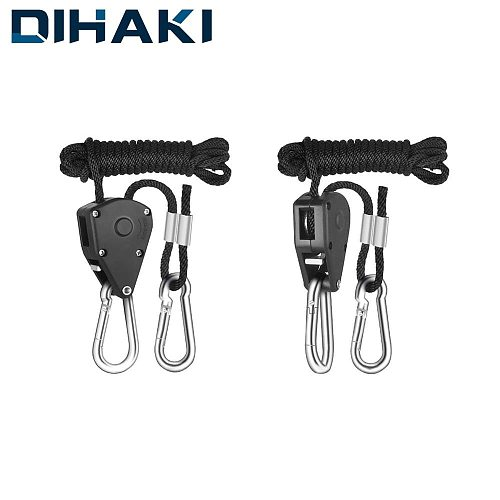 1 Pair Adjustable Pulley Sling Lifting Rope Ratchet Hook Max Load 150 lbs Lights Lifters Reflector LED Hangers Assembly Sling