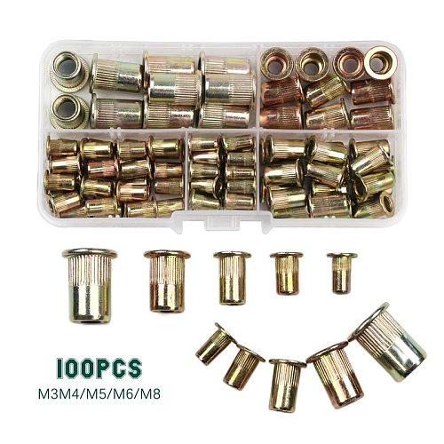 100PCS M3 M4 M5 M6 M8 Carbon Steel Rivet Nuts Insert Rivets Multi Size Flat Head Rivet Nuts Set