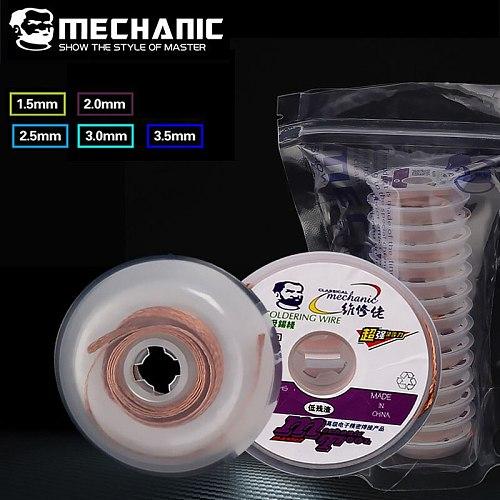 MECHANIC Solder Wick 1.5mm 2.0mm 2.5mm 3.0mm 3.5mm Desoldering Braid Wire Tin Remover BGA Welding Soldering Tools