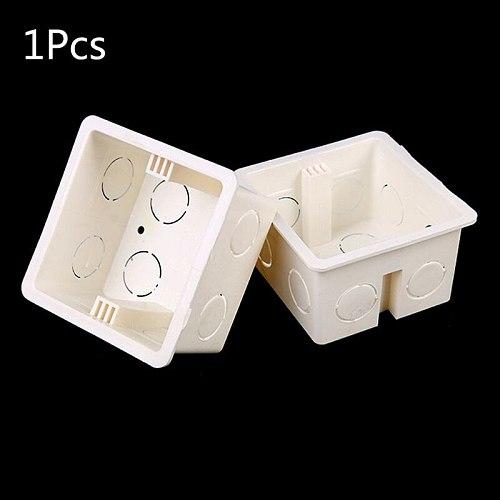 1pcs 86 Type Junction Box Surface Mount Bottom Wall Switch Socket Trough White PVC Box 86*86*50mm