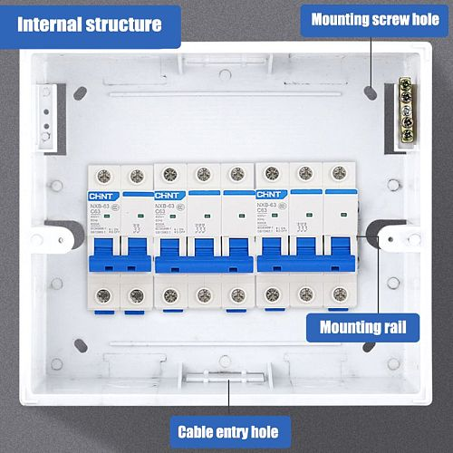 Durable Plastic Electrical Distribution Box Home Lighting Box for 2-4/5-8/9-12 Ways Surface Mounted Circuit Breaker