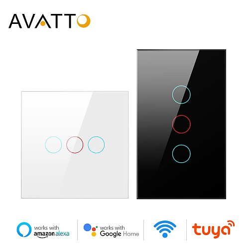 AVATTO Tuya WiFi Smart Light Switch with Luxuray Glass Panel, Touch Sensor Smart Wall Switch Voice Work with Alexa, Google Home