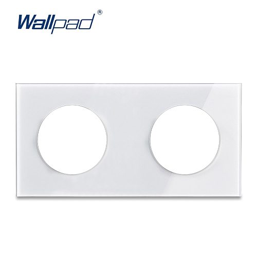 L6 DIY Customization Double 2 Gang Glass Frame Plate White Black For L6 Wall Light Switch Socket Inserts