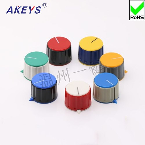 10 pcs KN-28-Y-6 potentiometer rubber color knob with nut clamping rotating band Switch knob hat