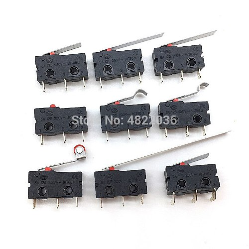 5pcs Mini Micro Limit Switch NO NC 3 Pins PCB Terminals SPDT 5A 125V 250V Roller Arc lever Snap Action Push Micro Switch