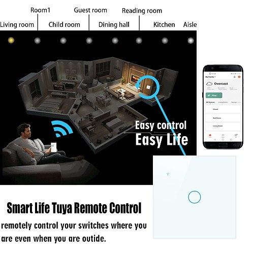 WiFi touch switch,Smart Switch,APP Wireless control Wall Light,2/3 way,Works with Alexa Googlehome ,EU UK Standard,1 2 3 4 Gang
