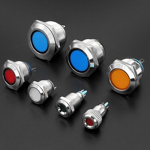 1pc 6 8 10 12 16mm Waterproof IP67 Metal LED Warning Indicator Light Signal Lamp Pilot Wire 3V 5V 12V 24V 110V 220V