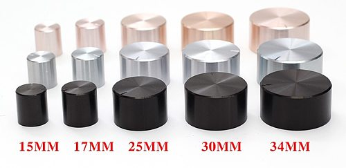 Aluminum plastic potentiometer knob 15*16 21*17 26*17 30*17 34*17 40*19mm silver black gold Chassis volume cap amplifier knobs