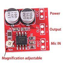 DC 5V-12V LM386 Electret Microphone Power Amplifier Board Gain 200 Times MIC Amp Operating Voltage: DC 4V-12V  20mm * 20mm