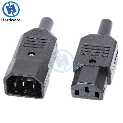 IEC Socket Straight Cable Plug Connector C13 C14 10A 250V Black Female&male Plug Rewirable Power 3 Pin Connector