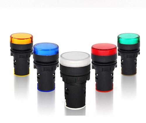 1pcs 12V/24V/220V/380V AD16-22DS 22MM LED Signal Light Power Switch Indicator Accessories 5 colors Optional Free Shipping