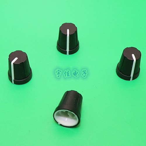 10 Piece 13.8 * 16mm black plastic knob half handle D-shaped inner hole 6mm potentiometer switch adjustment 0 degree indicating