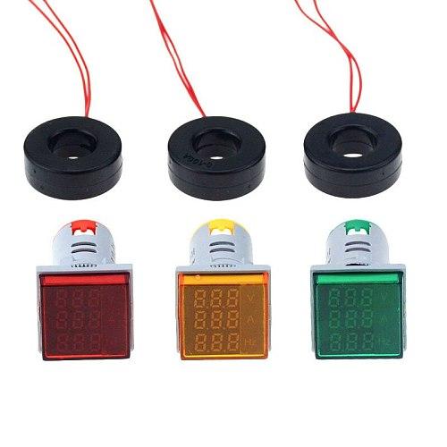 22mm Square LED Digital Voltmeter Ammeter Hertz Meter Signal Lights Voltage Current Frequency Combo Meter Indicator Tester