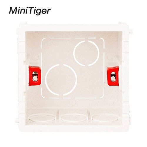Minitiger Adjustable Mounting Box Internal Cassette 86mm*83mm*50mm For 86 Type Switch and Socket Red Color Wiring Back Box